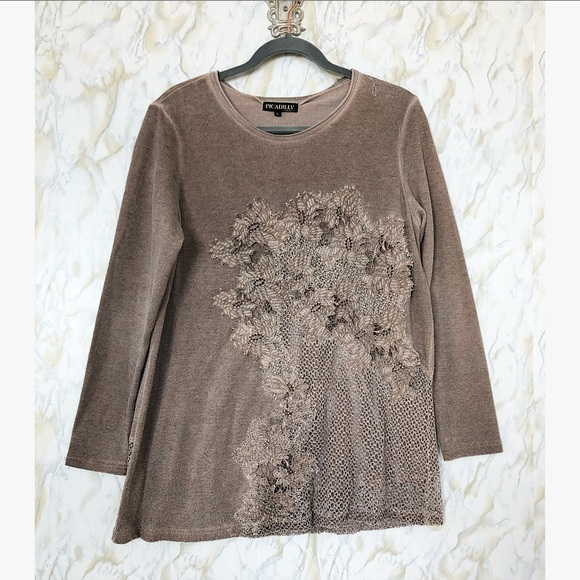 Floral Sweater large brown embroidery crochet